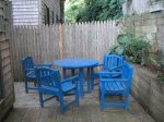 The patio set. I love that bright blue color.
