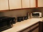 The other side of the kitchen counter space.