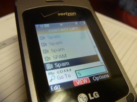 Cell Phone Spam List