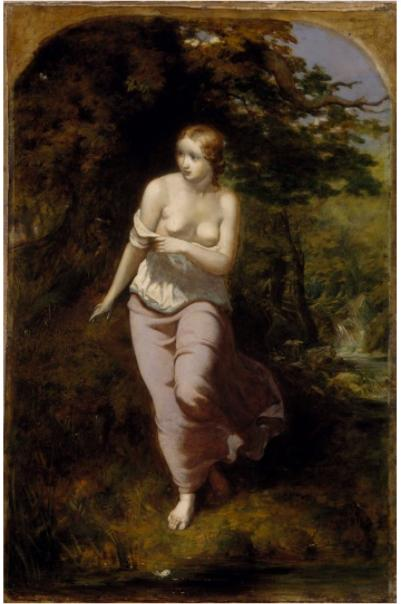 "Musidora Bathing by Arthur Hughes, inspired by James Thomson's ""Spring."""