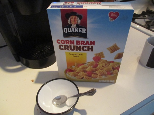 Preparing to Eat Quaker Corn Bran