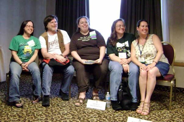 "23 8Pi-Con The ""Developing Deep Characters in Speculative Fiction"" panel. Left to right, writers Vikki Ciaffone, Allen Steele (3-time Hugo Award Winner and author of the COYOTE series – visit http://www.allensteele.com/), Trisha Wooldridge, Kate Kaynak, and me. Photo by Lori Claxton."