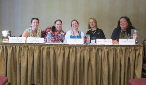 "47 8Pi-Con I moderated the ""Day Jobs for Writers"" panel. From left, me; Trisha J. Wooldridge, author of SILENT STARSONG; M.L. Brennan, author of GENERATION V; Morven Westfield, author of DARKSOME THIRST; and Ellen Larson, author of IN RETROSPECT."