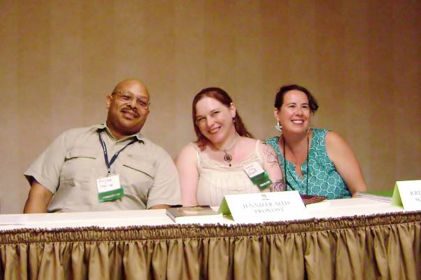 "61 8Pi-Con The ""Bad Endings"" panel. From left, George Claxton, Jennifer Allis Provost, and me. I like this picture. Jenn and I look like we're posing for animal crackers. Poor George!"