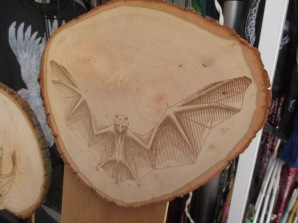 Bat wood art by Diamonds are Evil