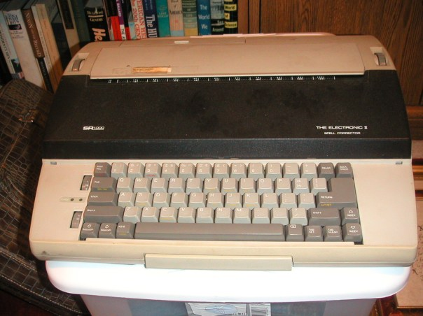 This was my second typewriter -- Dad bought it in 1987 to replace the old 1960s model Selectric I had been using. It had data storage capabilities and was really quite the thing in its day.