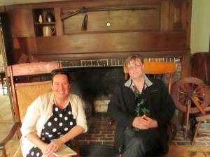 "In order to get a better sense of the setting for ""Shreds of Black,"" Nathan and I spent a day up at the Whittier Birthplace in May. Curator Gus Reusch treated us to several hours of fascinating history. Here we are in front of the fireplace."
