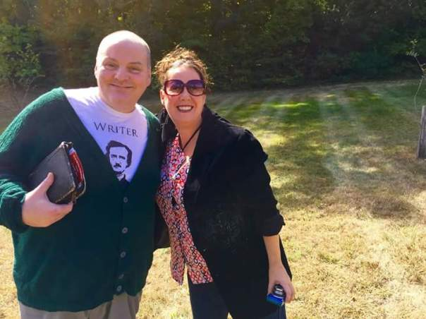 Me and writer Gregory Norris in the field near the bee hives at the SNOWBOUND: WITH ZOMBIES anthology release event at the John Greenleaf Whittier Birthplace in Haverhill, MA. Photo by Judi Calhoun.