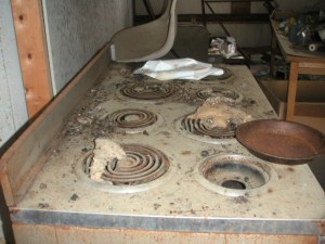 Stove in abandoned lab