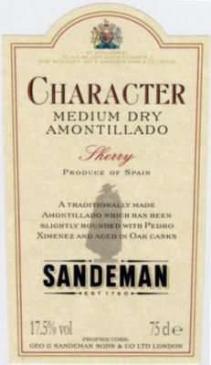 Sandeman Amontillado Label