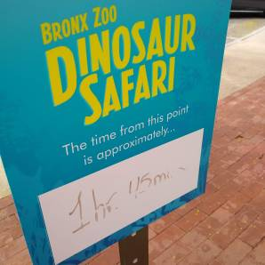 Dinosaur Safari Ride Wait Time Sign