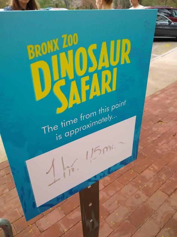Dinosaur Safari Ride Wait Time Sign