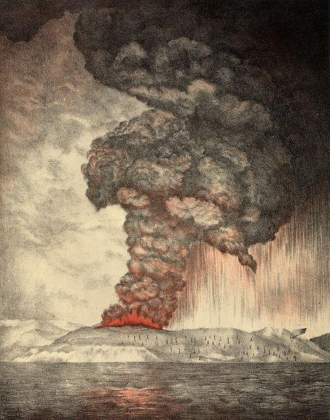 Krakatoa Eruption Lithograph