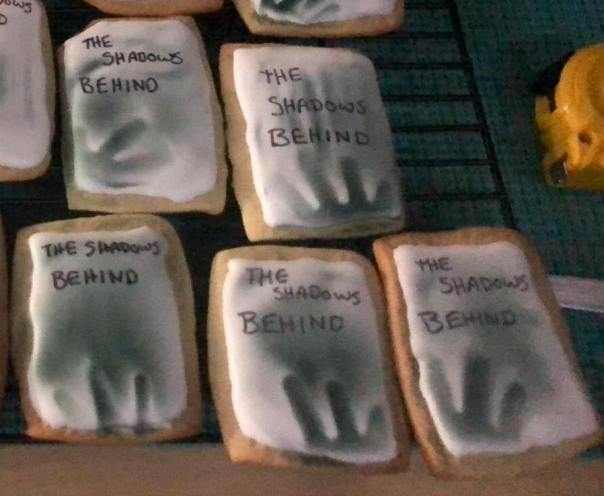 My sister-in-law, Rebecca Avery Petersen, spent countless hours making me these special cookies for THE SHADOWS BEHIND release party.