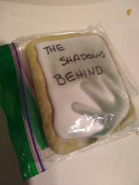 THE SHADOWS BEHIND book release party cookies