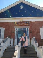 Me on the steps of the Treworgy Planetarium at Mystic Seaport