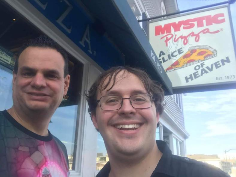 Phil and Abe with Mystic Pizza sign