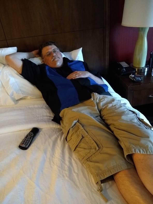 Crashing on the King sized bed