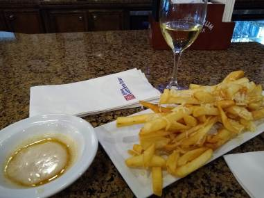 French fries and wine