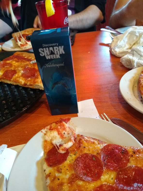 Shark Week glasses and a slice of pizza!