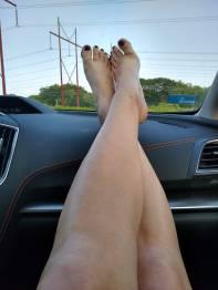 Legs on dashboard