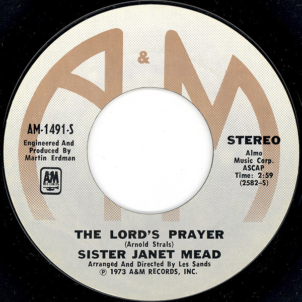 "45 Album of Sister Janet Mead's ""The Lord's Prayer."""