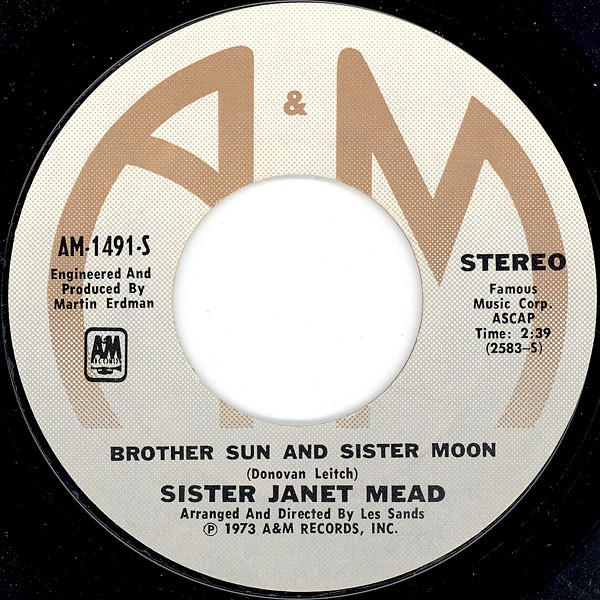 "45 Album Sister Janet Mead B-Side ""Brother Sun and Sister Moon"""