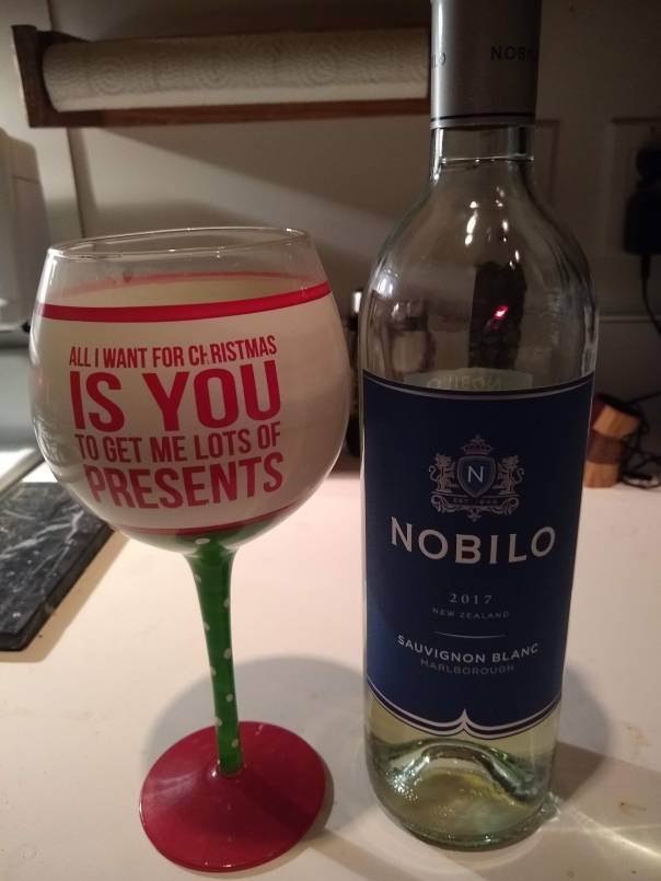 This is my favorite Christmas wine glass.