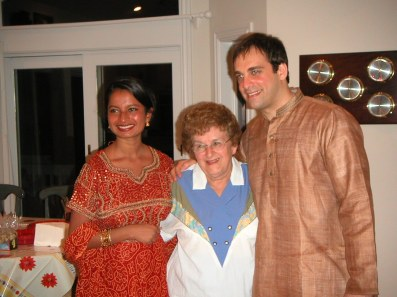 From left, Sana (my brother's wife), Auntie Del, and my brother Chuck. We were all in Duck, North Carolina, in a giant beach house for a week of celebrations surrounding Chuck and Sana's wedding in the summer of 2003.