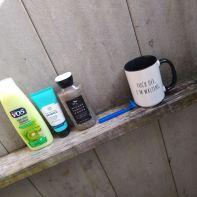 coffee in outdoor shower
