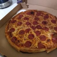 Pepperoni and garlic pizza