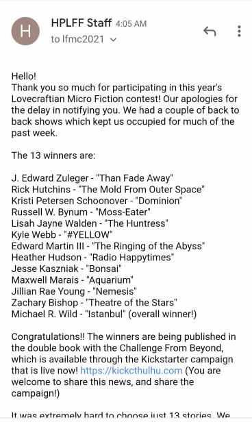 Lovecraftian Microfiction 2021 winners list